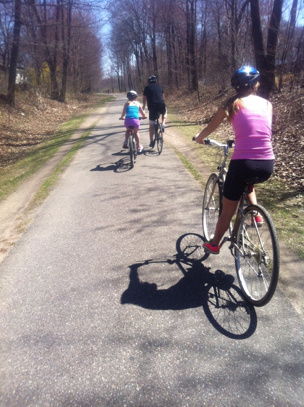 Terry dad out on the Burlington Bike path with his daughters in tow.