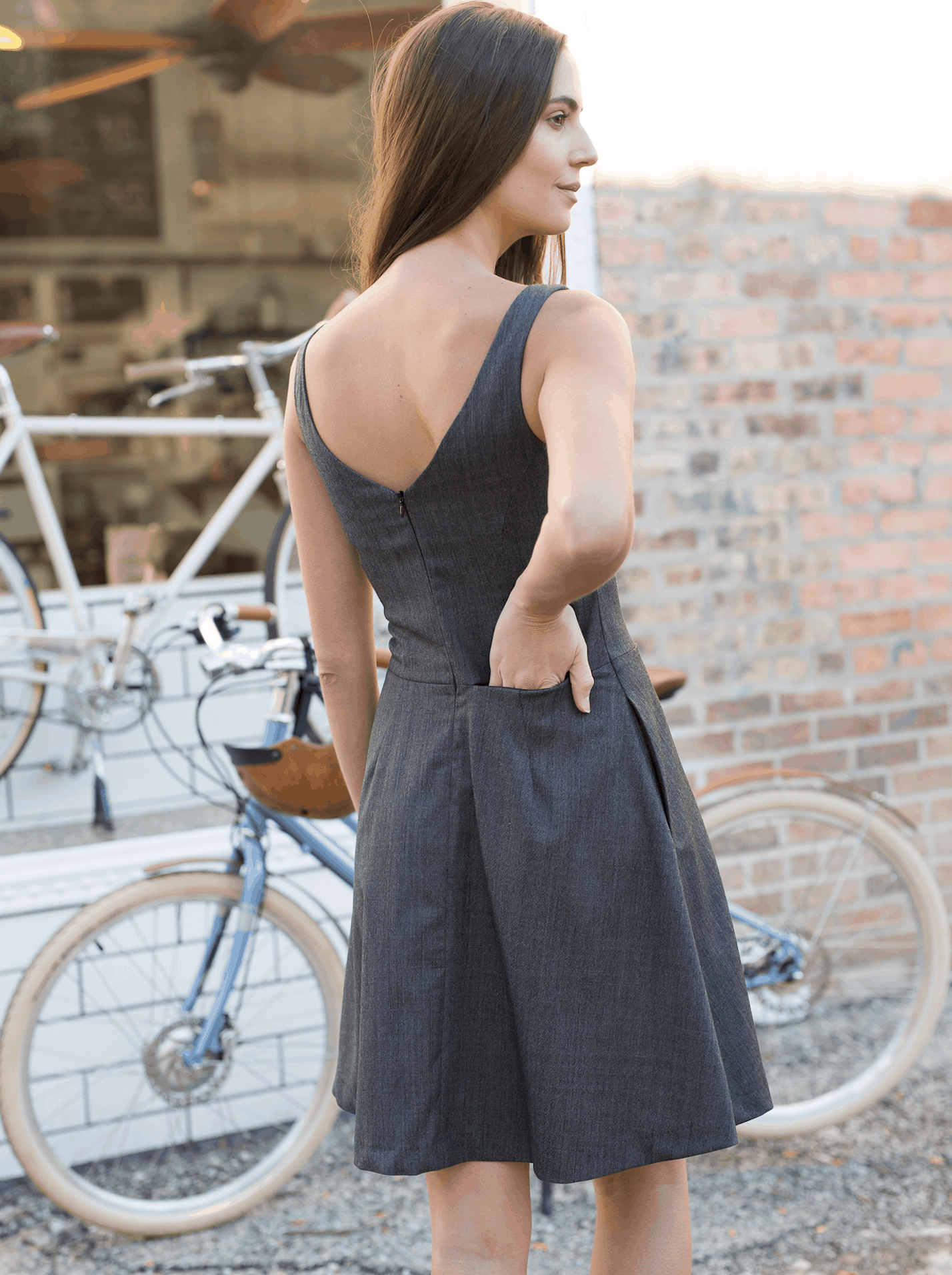 Hidden on-seam zip pocket in the Everyday Bike Dress