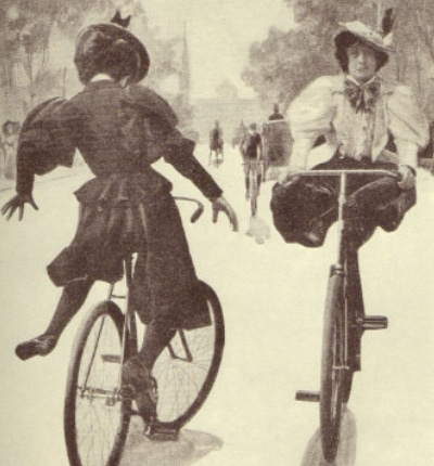 cycling comfort tips for women - antique picture of women riding playfully