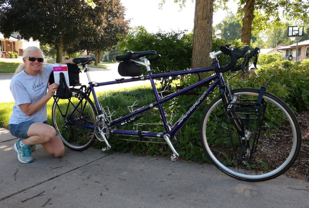 Tracy Flucke with tandem and new Terry Butterfly Bicycle Seat
