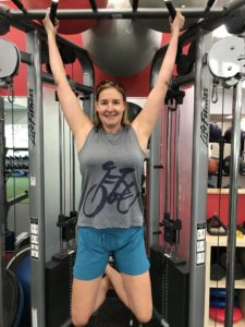 Karyn works out in Terry Tech Tank - favorite Tech Tee version