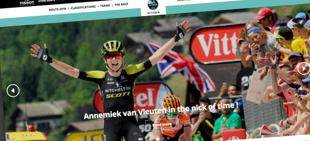 Women's Tour de France - Annemiek van Vleuten pictured winning the 2018 la Course on the official website
