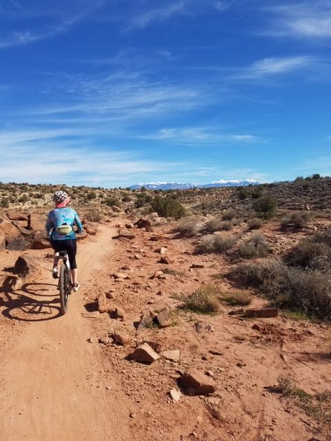 What to pack for a bike tour - Beth sports Terry in Moab, Utah