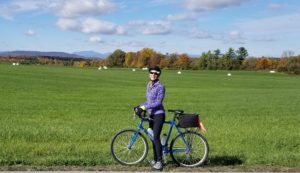 "What to pack for a cycling tour - Cath as a Terry model! In the ""wilds"" of Vermont."