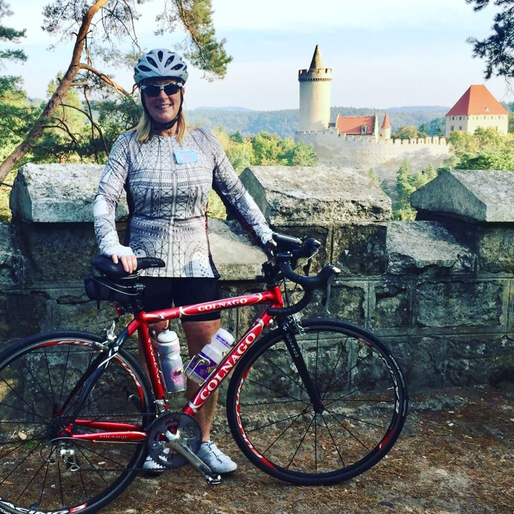 Packing for a cycling tour - Lisa in the Eiffel Tower Soleil Kokorin Castle Potsdam Germany