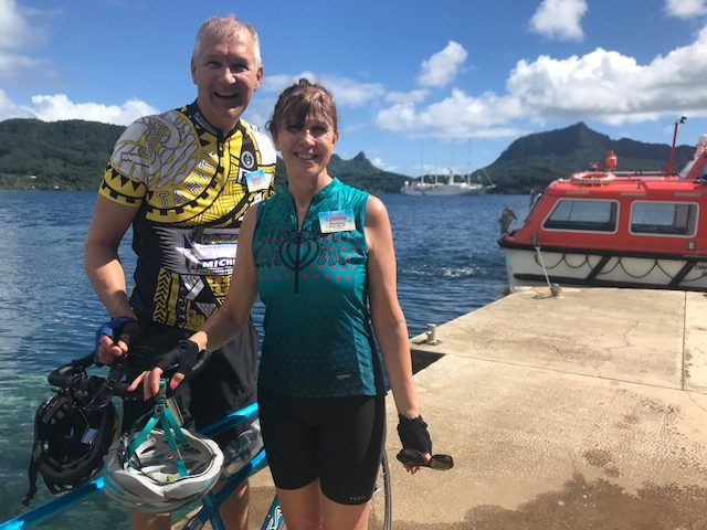 Tahiti tandem tour - Oh so hot, our boat in the background, tender arriving