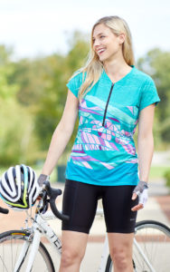 Photo of cyclist model wearing Terry Wayfarer Short Sleeve Cycling Jersey in Strata/Green