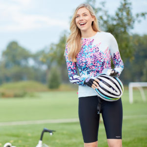 Photo of cyclist model wearing Terry Chill 9 Short and Soleil long sleeve jersey