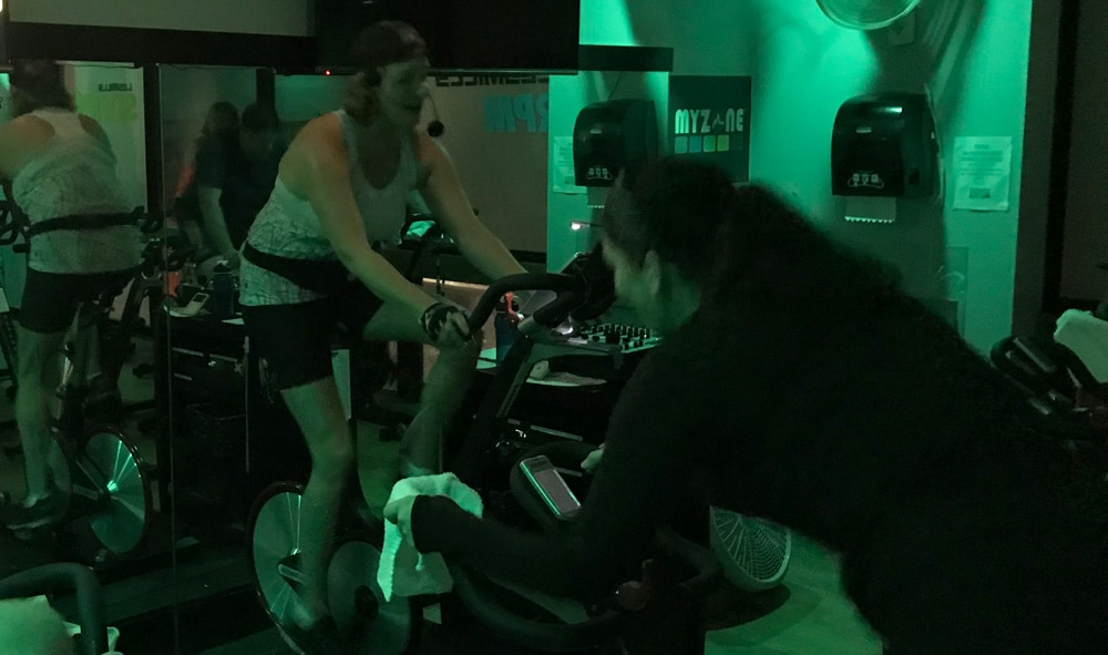 Terry Ambassador Karyn Lewis leading spin class in her favorite Terry Chill 7 bike shorts