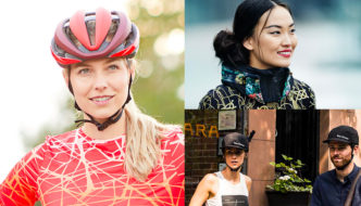 Collage of photos showing new bike helmets for women in 2019