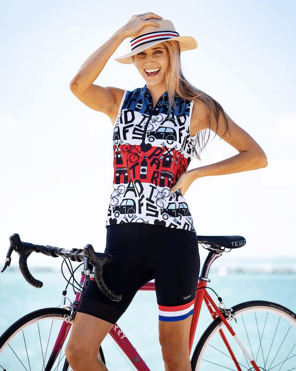Model wearing Terry Breakaway Mesh cycling top in TDF Mashup
