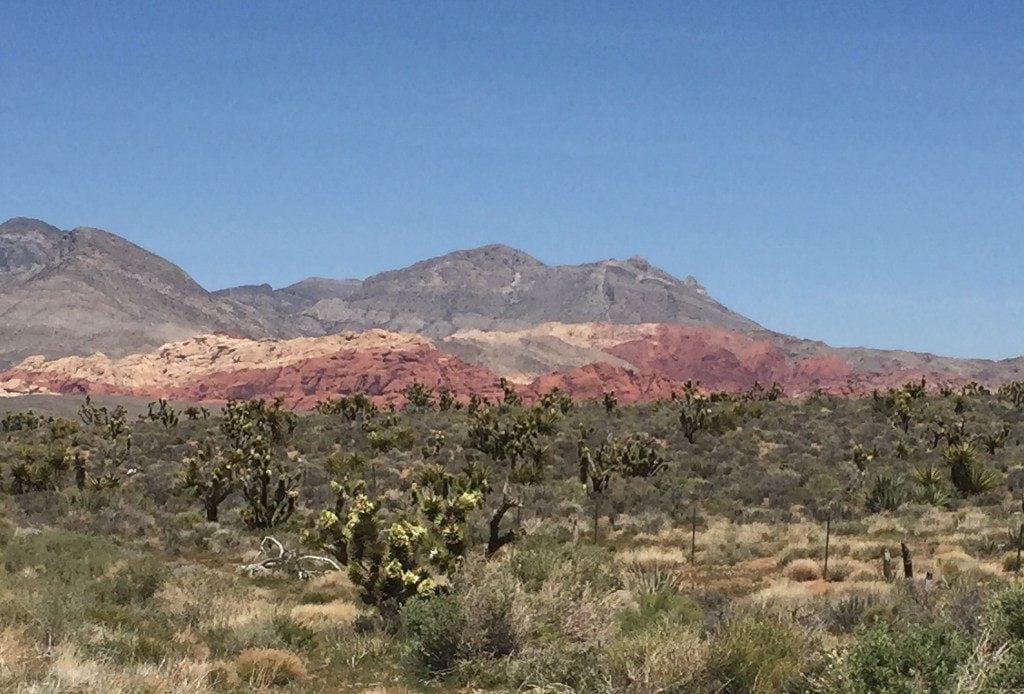 Photo of multi-colored mountains with strong red striations in Red Rock Canyon near Las Vegas.