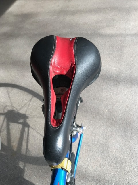 Photo of old Terry Liberator bike saddle front top view