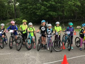 gritty girls on mountain bikes line up for a drill