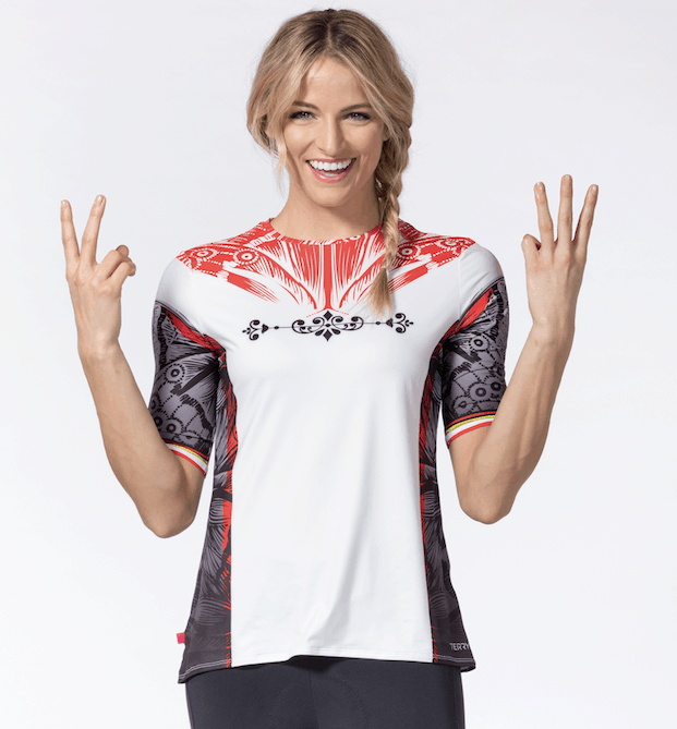 Photo of model wearing Terry cycling jersey in Eddie Fly pattern