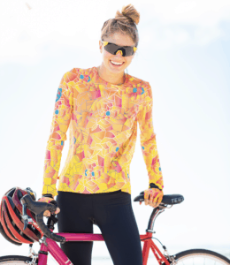Model wearing Terry Soleil Flow Long Sleeve Jersey in Stained Glass