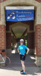 Natalie S. posed in front of a building on a ride in New Jersey, wearing Terry Peloton cycling shorts
