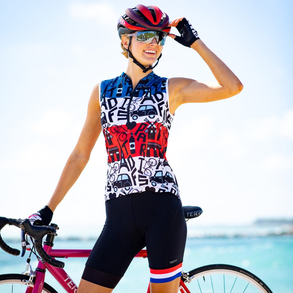Photo of model wearing Terry Breakaway Sleeveless Jersey in TDF Mashup, celebrating Tour de France 2019