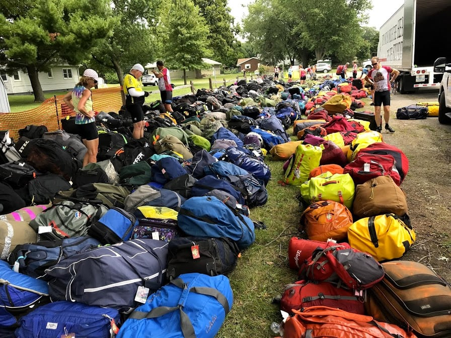 RAGBRAI - finding your own bag among hundreds of similar bags is a daily challenge