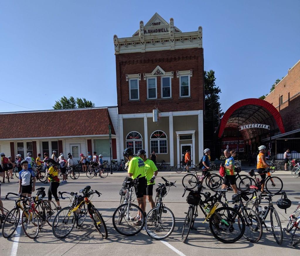 RAGBRAI Iowa historic street scene