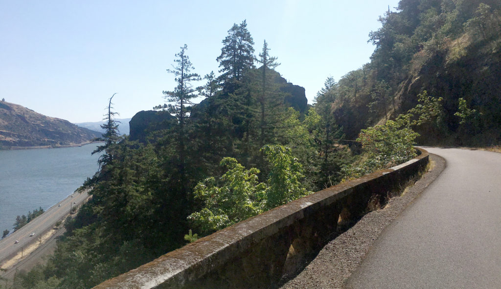 A view from the Historic Columbia River Highway Trail, looking across the river with teh modern highway far below