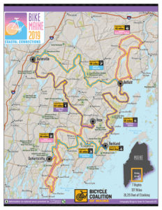 BikeMaine tour map shows the route around mid-coast Maine