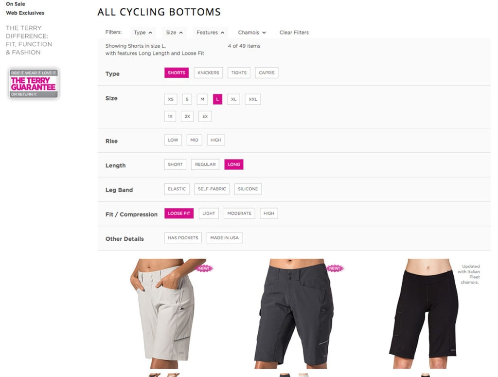 Filtering controls on Terry Cycling Bottoms page, showing filtered view with several selections made