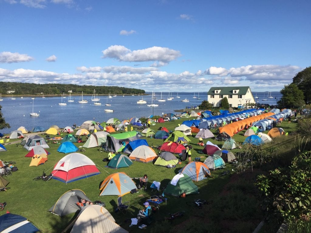 Colorful collection of tents at the waterfront park in Belfast, Maine