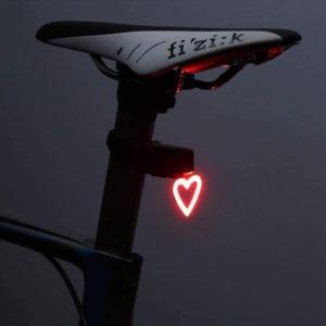Practical but fun cycling gift idea - heart shaped led bike light