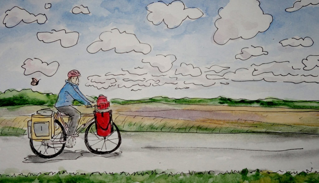 Watercolor by Sara Dykman, riding her fully laden touring bike through a cloudy landscape with a single monarch butterfly following her