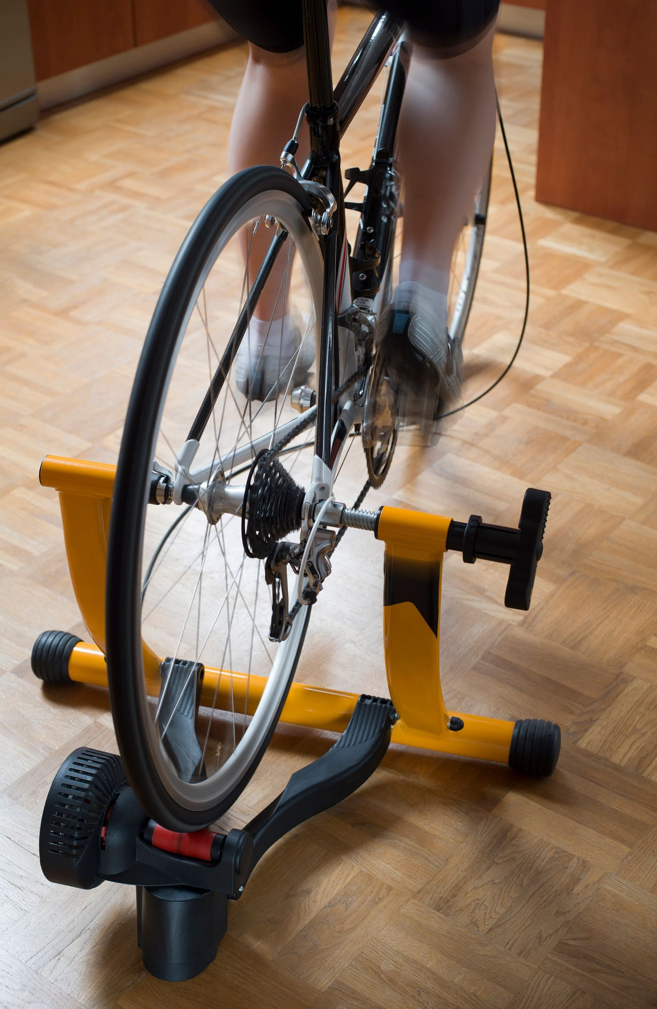 A bike trainer that holds the back wheel, turning a road bike into a stationary bike